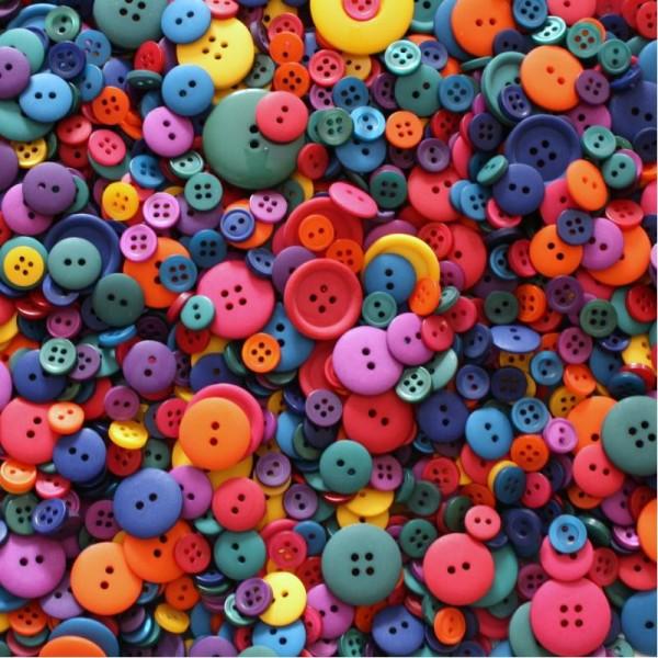 Assortiment de 100 Boutons Taille et Couleur Mixtes pour Scrapbooking - Vifs - Photo n°1