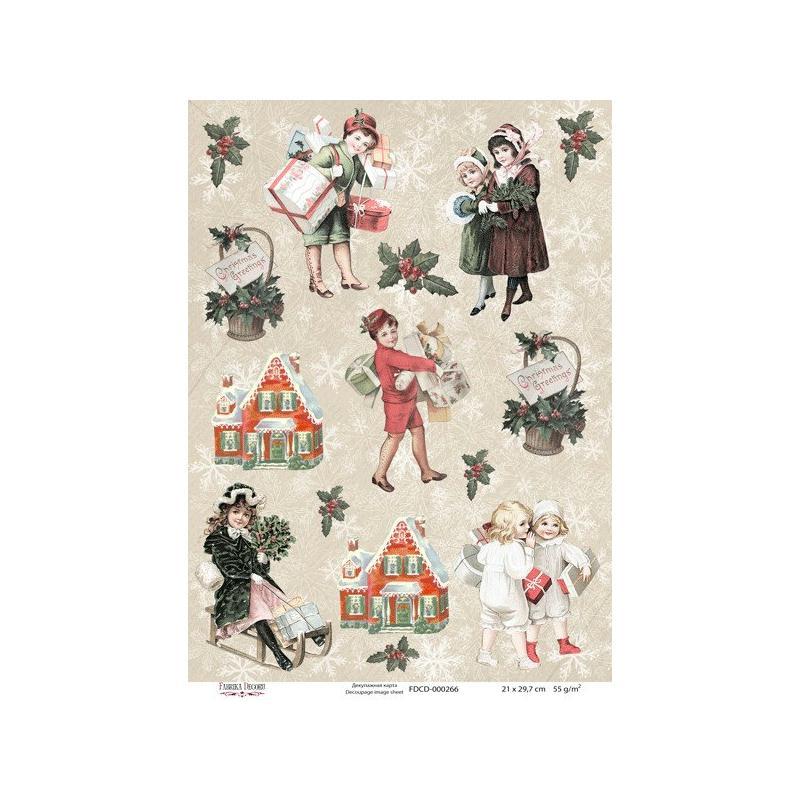 1 feuille de papier de d coupage collage 21 x 29 7 cm retro enfant noel 266 papier de - Decoupage papier deco noel ...