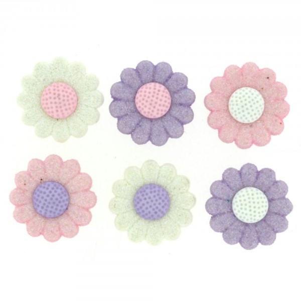 Boutons Dress It Up - Shimmer Daisies / Fleurs Marguerite Pailletées - Photo n°1