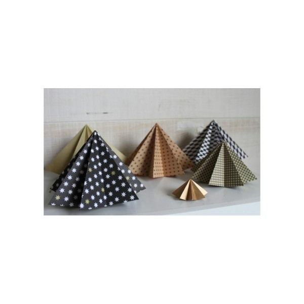 Noël 5 Sapins En Origami Papier Couleur Noir Blanc Or à Motifs
