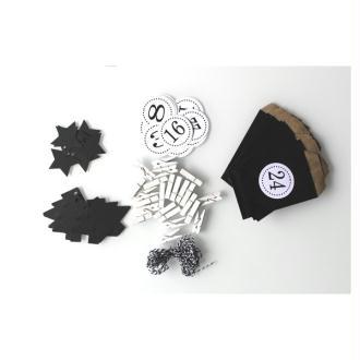 Noël : Kit Calendrier De L'Avent Noir Et Blanc- Sapins Et Étoiles
