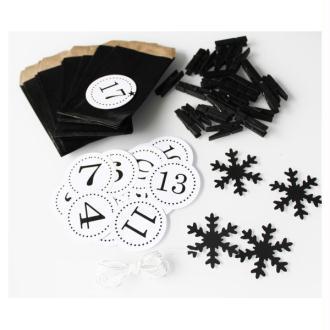 Noël : Kit Calendrier De L'Avent Noir Et Blanc- Flocons Noirs