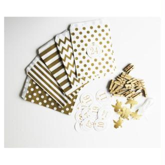 Noël : Kit Calendrier De L'Avent Or Et Blanc À Remplir - Stickers Anges Dorés