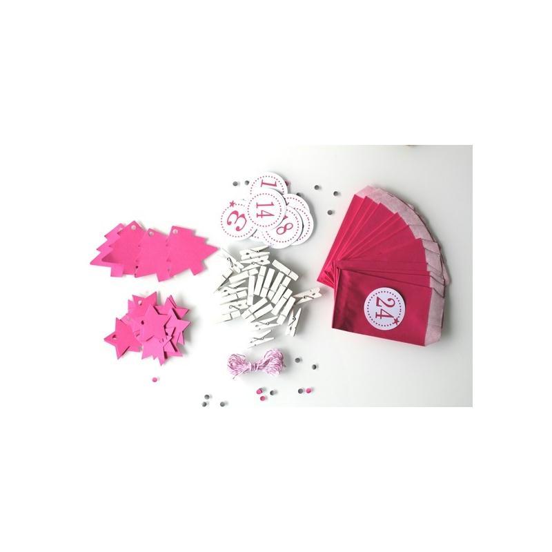 no l kit calendrier de l 39 avent rose et blanc remplir sapins et toiles no l creavea. Black Bedroom Furniture Sets. Home Design Ideas