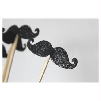 10 Brochettes De Moustaches Noires Paillettées Pour Photobooth Pour Un Mariage Ou Un Anniversaire