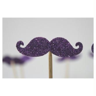10 Brochettes De Moustaches Violettes Pailletées Pour Photobooth Pour Un Mariage Ou Un Anniversaire