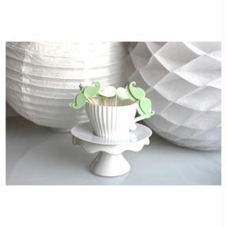 10 Décorations Pour Petits Gâteaux (Cupcakes Toppers )- Couleur Vert Menthe Pour Baptême, Babyshower
