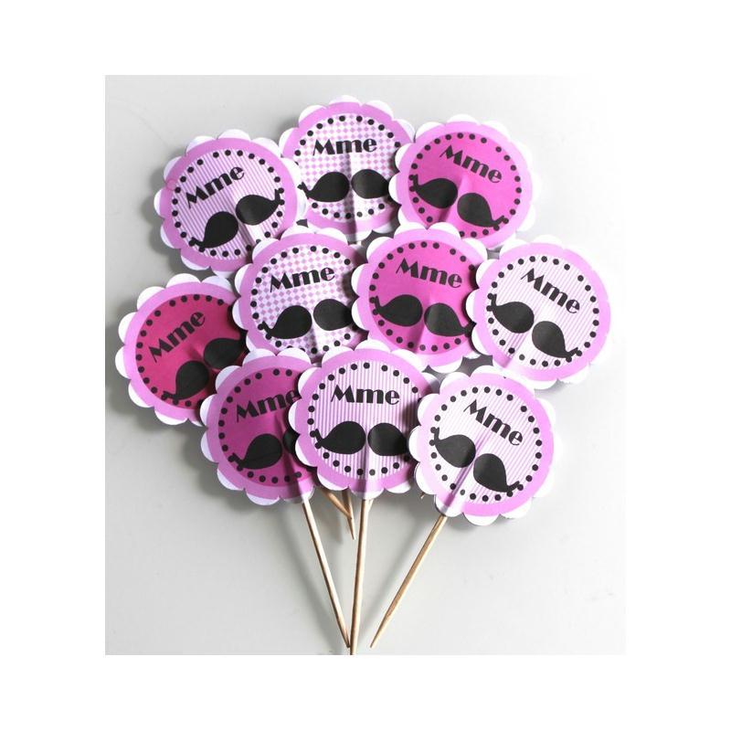 10 d corations pour petits gateaux cupcakes toppers th me madame moustache rose d coration. Black Bedroom Furniture Sets. Home Design Ideas