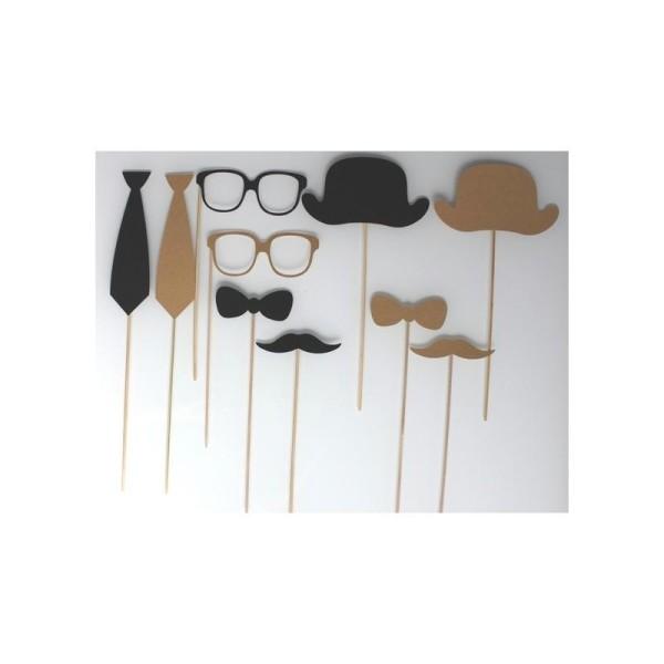 Lot De 10 Accessoires Photobooth Mariage Style Retro - Noir Et Kraft - Photo n°1