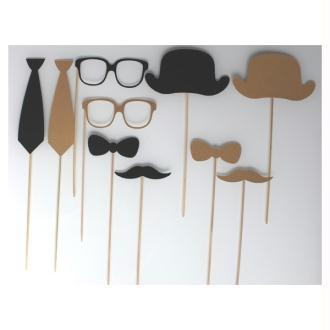Lot De 10 Accessoires Photobooth Mariage Style Retro - Noir Et Kraft