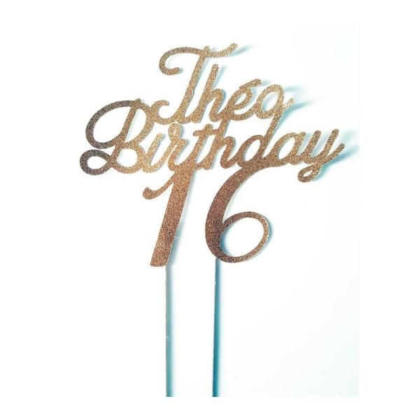 Décoration Gâteau -Prénom +Birthday + Age - Topper Doré Pailleté - Photo n°1