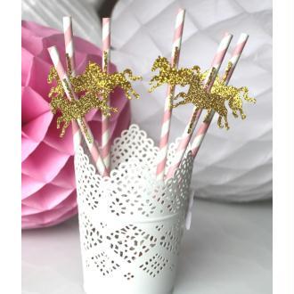 Lot De 6 Pailles Roses + Cheval Carrousel Doré  Pour Anniversaire Enfant- Baptême- Mariage