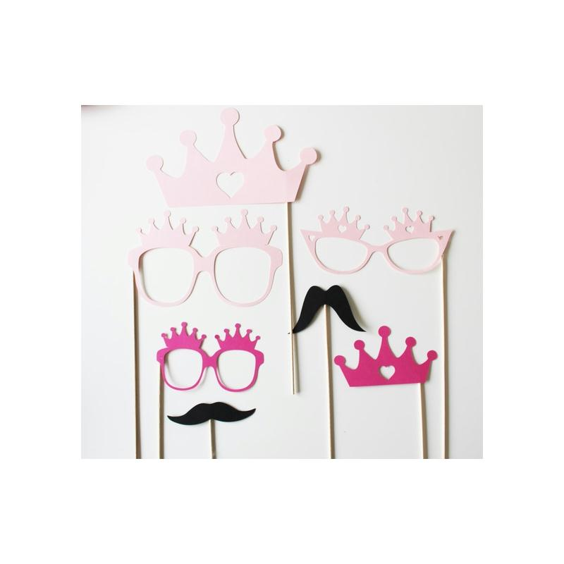 lot de 7 accessoires photobooth anniversaire princesse fuchsia rose noir mod le enfant. Black Bedroom Furniture Sets. Home Design Ideas