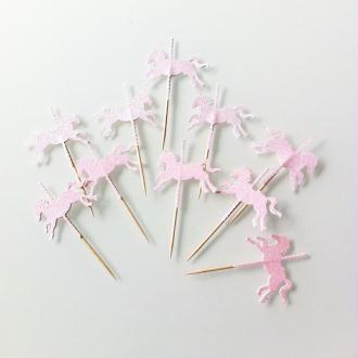 10 Décorations Pour Petits Gâteaux-  Toppers Cheval Carrousel Roses À Paillettes