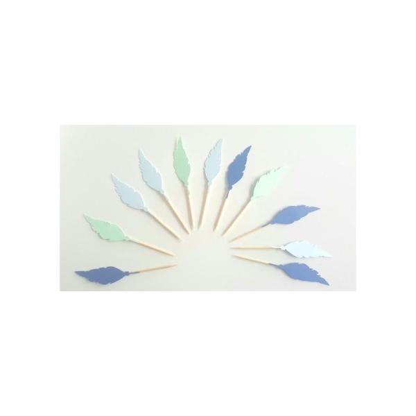 10 Décorations Pour Petits Gâteaux (Cupcakes Toppers )--Plume Bleues-Vertes-Fête D'Indiens - Photo n°1