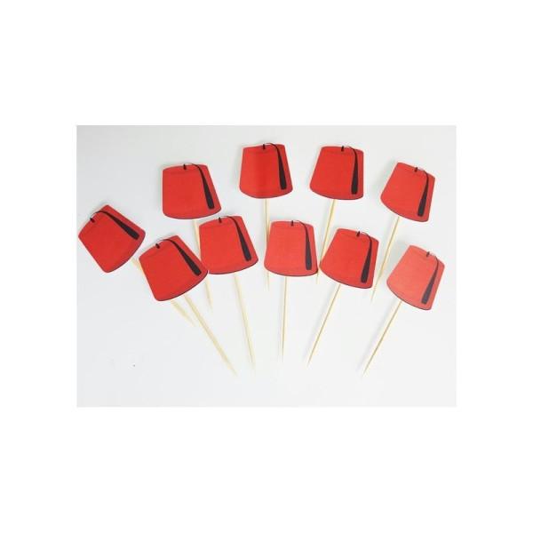 10 Décorations Tarbouche Pour Petits Gâteaux (Cupcakes Toppers ) - Photo n°1