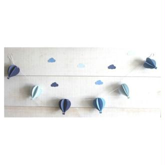 Guirlande De 6 Montgolfières  Tons De Bleus