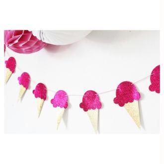 Guirlande De Glaces -Rose Fuchsia Paillettes- Pour Candy Bar, Anniversaire, Table De Fête