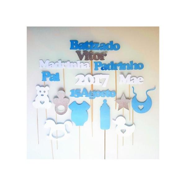 Lot De 16 Accessoires Photobooth Bapteme Batisado Portugais Tetine Biberon