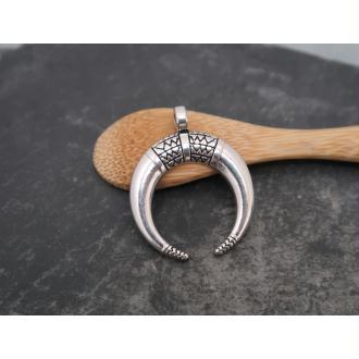 Pendentif corne demi lune ethnique boho en métal argenté, 34x27 mm, 1 pc