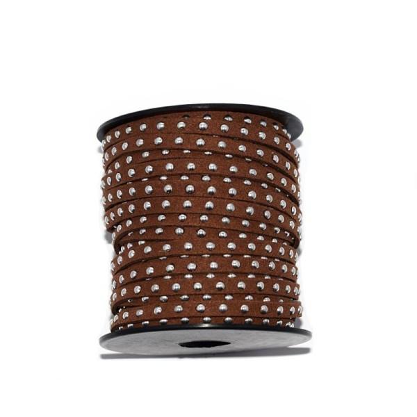 Suédine rivet argenté 5 mm marron foncé x10 cm - Photo n°1