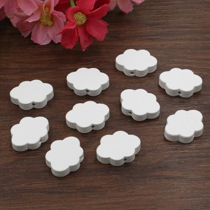 5 perles en bois blanc nuage 22mm x 17mm creation attache - Perle en bois pour attache tetine ...