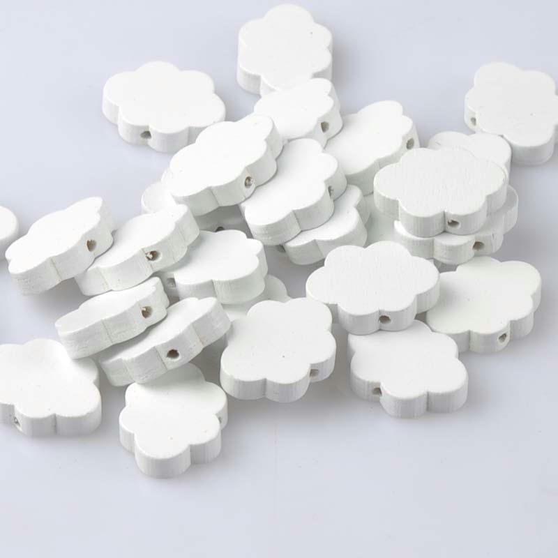 5 perles en bois blanc nuage 22mm x 17mm creation attache tetine bijoux - Perle en bois pour attache tetine ...