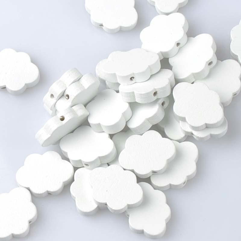 10 perles en bois blanc nuage 22mm x 17mm creation attache tetine bijoux - Perle en bois pour attache tetine ...