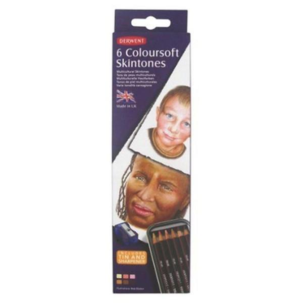 Derwent Coloursoft Boîte de 6 crayons de couleurs Tons de peau - Photo n°3