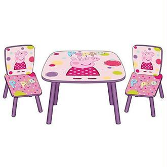 Arditex - 008377 - Ensemble Table Et 2 Chaises En Bois - Peppa Pig - Le Cochon