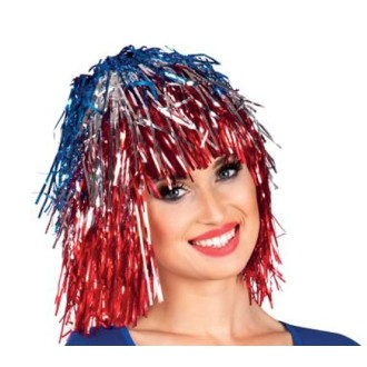 Perruque métallisée bleu/blanc/rouge