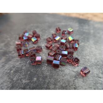 Perles intercalaires cubes en verre,violet reflets multicolore AB, 5 mm, 20 pcs