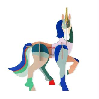 Licorne Unicorn en carton coloré à construire H16cm Studioroof