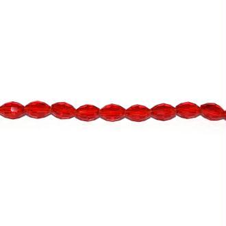 Perle facette ovale en verre 6x4 mm rouge transparent x10