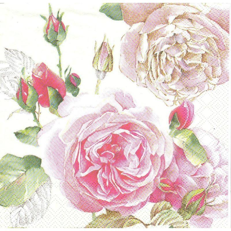 4 serviettes en papier rose hybride de th format cocktail serviette fleurs creavea. Black Bedroom Furniture Sets. Home Design Ideas