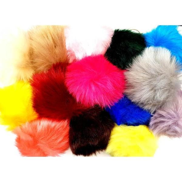 Porte clés, Pompon multicolore, x 5 pcs, mixe aléatoire, multicolore 8cm - Photo n°1