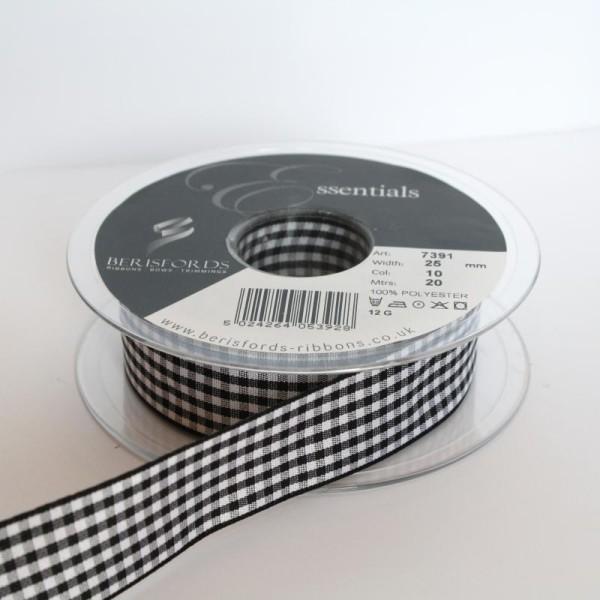 Ruban Vichy 25mm : Vendu au Mètre - Noir - Photo n°1