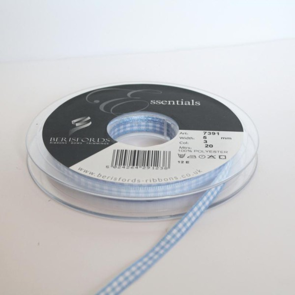 Ruban Vichy 5mm : Vendu par 2 x Mètres - Bleu - Photo n°1