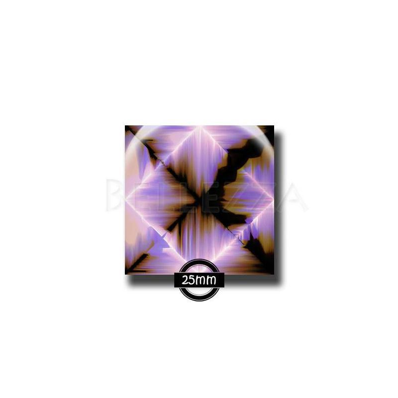 cabochon en verre carr 25mm violet orange tourbillons. Black Bedroom Furniture Sets. Home Design Ideas