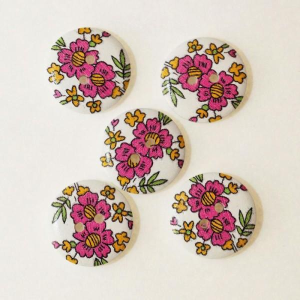 Bouton en Bois 20mm Imprimé Fleurs avec 4 Trous Lot de 10