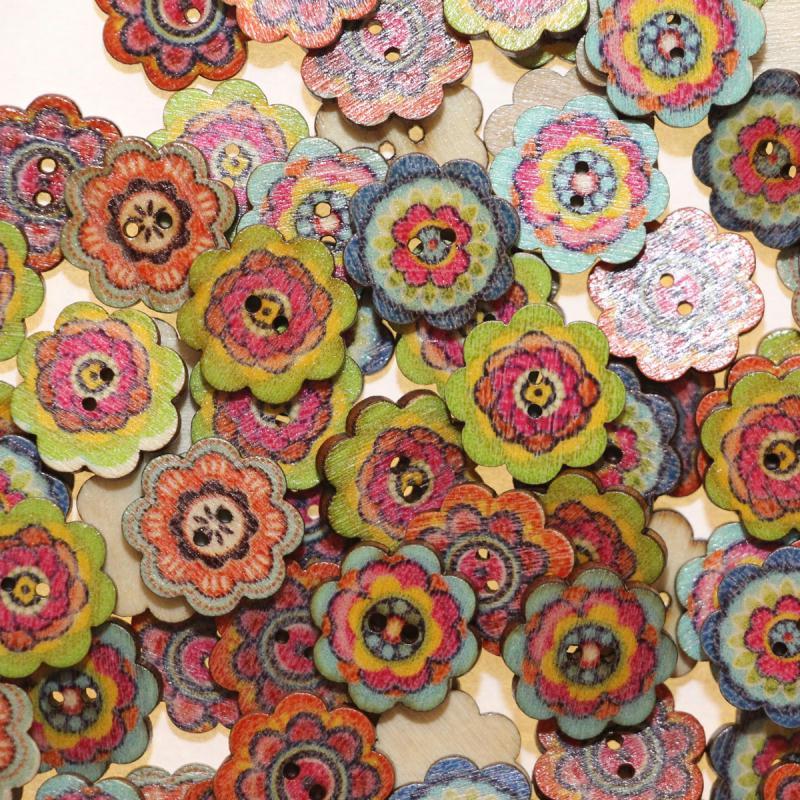 Bouton en Bois Vernis 19mm en Forme Fleur - Lot de 10 - Boutons bois - Creavea