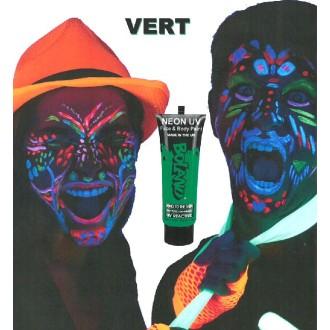 Tube peinture vert fluo UV corps et visage 10 ml