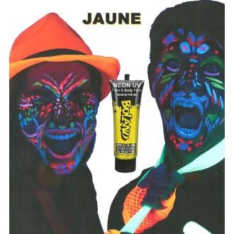 Tube peinture jaune fluo UV corps et visage 10 ml