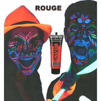 Tube peinture rouge fluo UV corps et visage 10 ml