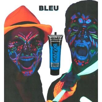 Tube peinture bleu fluo UV corps et visage 10 ml