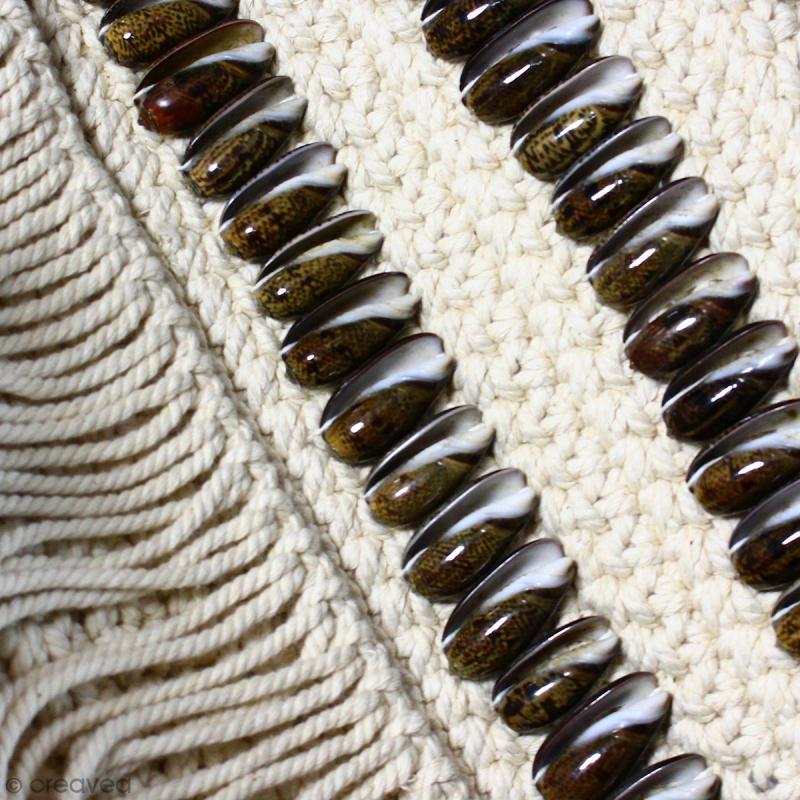 Tissage mural macramé déco - Coquillage marron allongé - 100 x 45 cm - Photo n°3