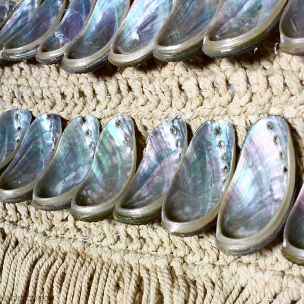 Tissage mural macramé déco - Coquillage nacré - 105 x 45 cm - Photo n°3