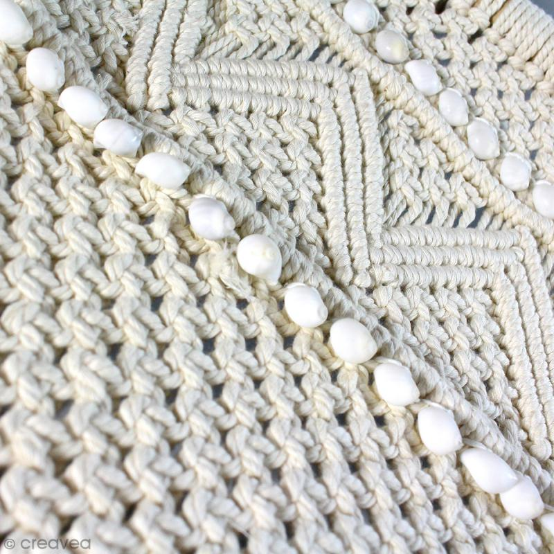 Tissage mural macramé déco - Petit coquillage blanc - 120 x 60 cm - Photo n°3