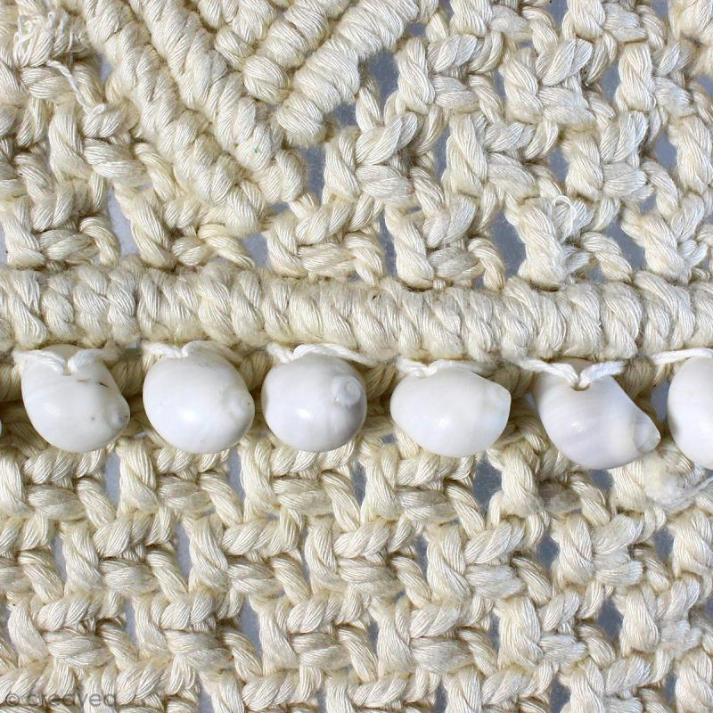 Tissage mural macramé déco - Petit coquillage blanc - 120 x 60 cm - Photo n°4