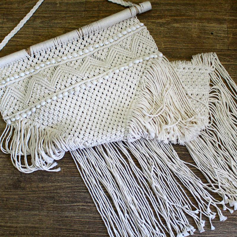 Tissage mural macramé déco - Petit coquillage blanc - 120 x 60 cm - Photo n°5